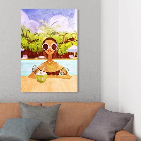 Wynwood Studio 'Coconut Milk' Fashion and Glam Wall Art Canvas Print Portraits - Green, Blue