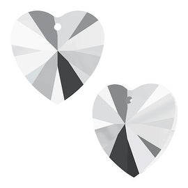 Swarovski Elements Crystal, 6228 Heart Pendants 14mm, 2 Pieces, Crystal Light Chrome