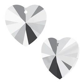 Swarovski Crystal, 6228 Heart Pendants 14mm, 2 Pieces, Crystal Light Chrome