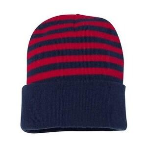 "Sportsman 12"" Striped Knit Beanie - Red/ Navy - One Size"