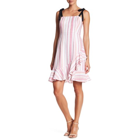Donna Morgan Pink Womens Size 4 Striped Ruffle-Hem A-Line Dress