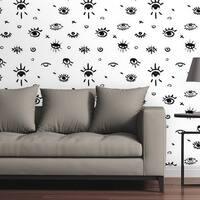 "Circle Art Group Removable Wallpaper Tile - Evil Eye - Multi-color - 24"" x 48"""
