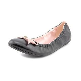 Jack Rogers Regina Women Round Toe Leather Black Ballet Flats