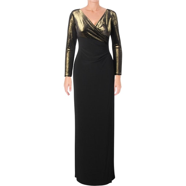 Lauren Ralph Lauren Womens Cicero Evening Dress Metallic Top Surplice