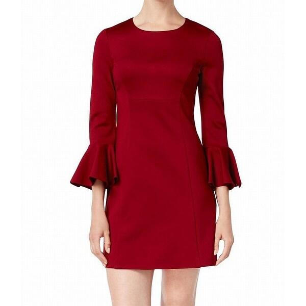 add0e30b8d6939 Shop Trina Turk Red Women's Size 2 Panache Bell-Sleeve Sheath Dress ...