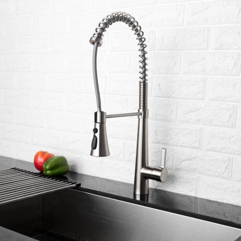 Pull Out Touch Single Handle Kitchen Faucet with Side Spray
