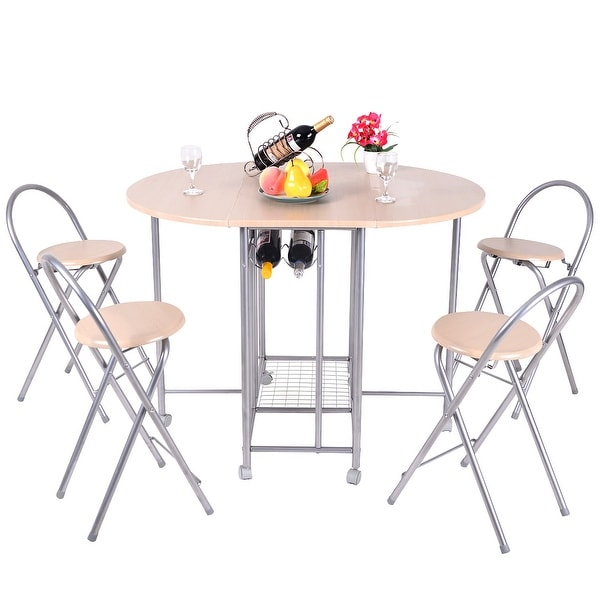 Costway 5PC Foldable Dining Set Table and 4 Chairs Breakfast Kitchen Furniture  sc 1 st  Overstock.com : breakfast set table and chairs - pezcame.com