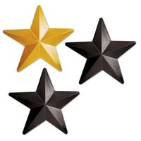 """Club Pack of 36 Black and Gold Awards Night Plastic Star Party Decorations 12.25"""""""