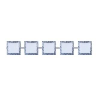 BESA Lighting 5WS-7735SF Alex 5 Light ADA Compliant Halogen Bathroom Vanity Light with Opal / Silver Foil Glass Shades