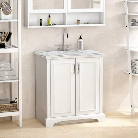 Single Bathroom Vanity With Storage Cabinet And Ceramics Sink