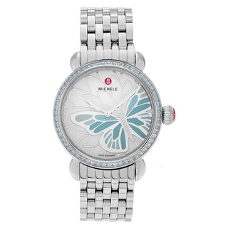 Michele Women's 'Garden Party' MWW05D000021 Stainless Steel Topaz Diamond Accent Link Watch - Silver