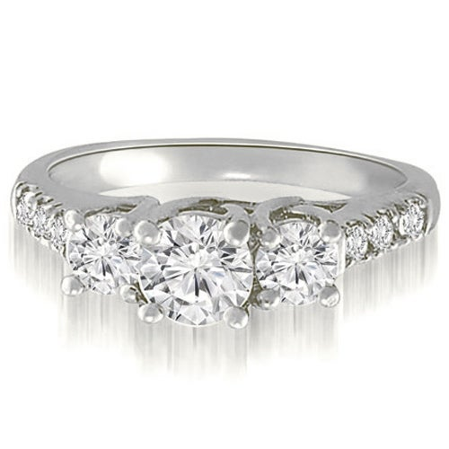 0.95 cttw. 14K White Gold Trellis Round Diamond Three-Stone Engagement Ring