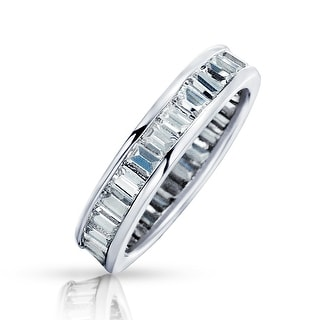 Bling Jewelry Channel Set CZ Sterling Silver Wedding Band Eternity Ring