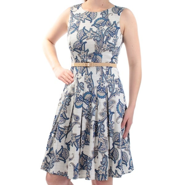 b7cd795c4e51 Shop TOMMY HILFIGER Womens Blue Belted Floral Sleeveless Jewel Neck Above  The Knee Fit + Flare Dress Size: 10 - Free Shipping On Orders Over $45 -  Overstock ...