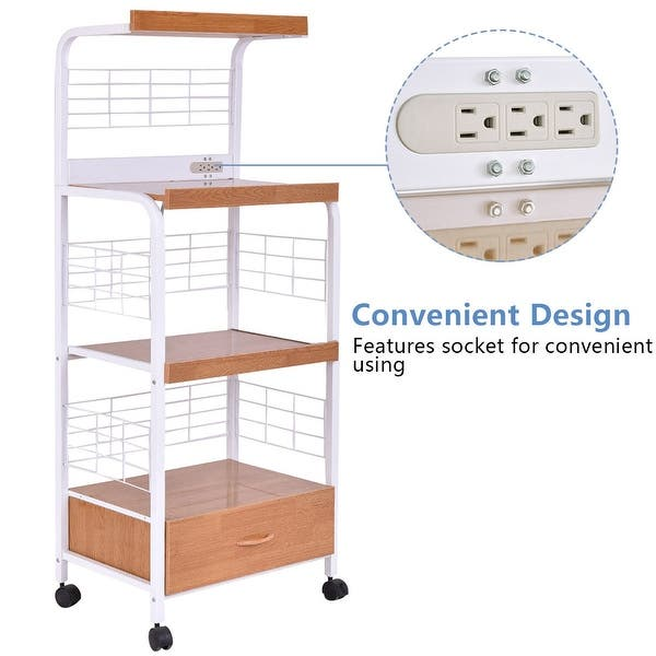 Costway 62 Bakers Rack Microwave Stand Rolling