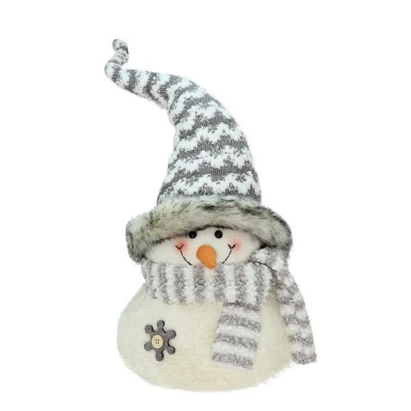 "24.5"" Gray and White Snowman with Striped Scarf Christmas Tabletop Decoration"