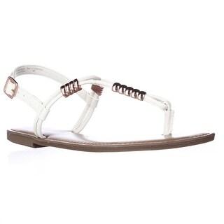 B35 Vortext T-Strap Flat Sandals - White