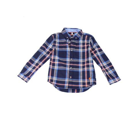 Joules Boy's Shirt Navy Blue Size 4 Button-Down Lachlan Check-Print