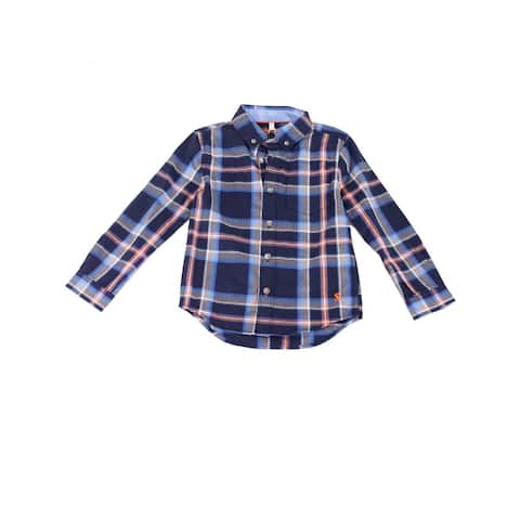 Joules Boy's Shirt Navy Blue Size 5 Button-Down Lachlan Check-Print