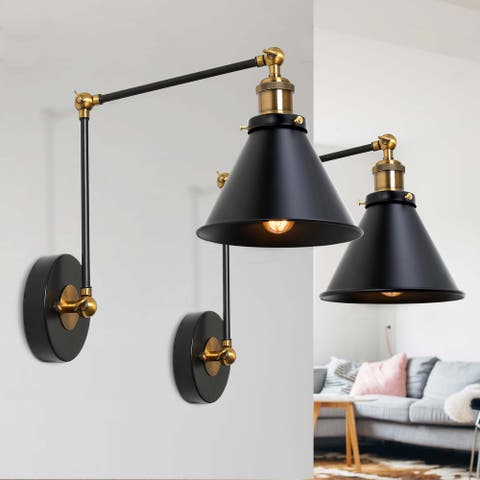 Modern Contemporary 2-Light Armed Swing Sconce with Black Metal Shade