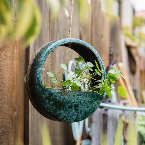 RusticReach Green Coarse Ceramic Wall Hanging Planter Half Round