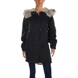 Free People Womens Parka Faux Fur Hood Ribbed Trim