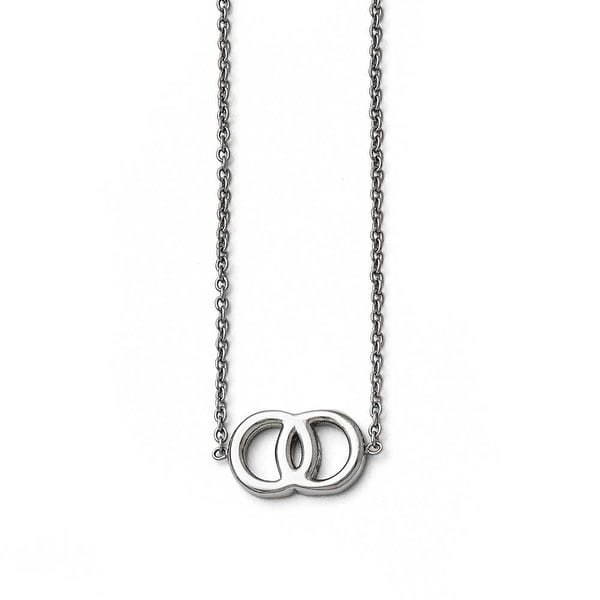 Chisel Stainless Steel Polished Double Circle Necklace - 19 in