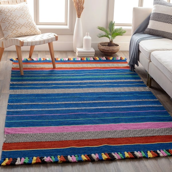 Lovette Handmade Cotton Striped Area Rug. Opens flyout.
