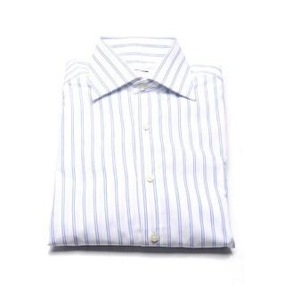 Valentino Men's Cotton Dress Shirt Light Blue Pinstriped