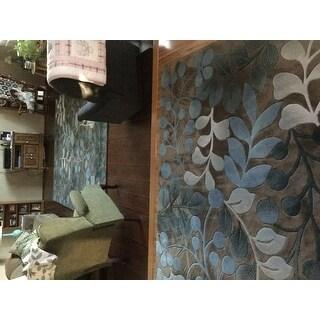 Nourison Hand-tufted Contours Botanical Mocha Rug - 7'3 x 9'3