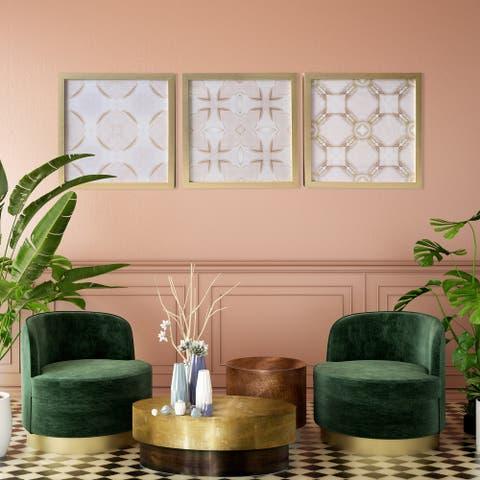 Gallery 57 Blush Tiles Set of 3 Framed Art, 18x18 Each