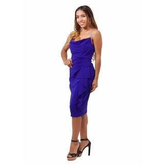 Beaded Spaghetti Strap Ruched Jersey Sheath