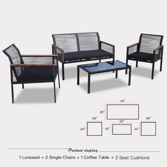 4-piece Black Wicker Cord Patio Furniture Sofa Conversation Set