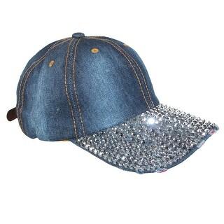 Something Special Women's Cotton Denim Baseball Cap with Rhinestones - One Size