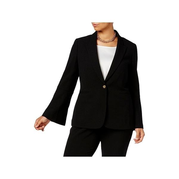 f104d059c29 Tahari ASL Womens Plus One-Button Blazer Bell Sleeves Professional