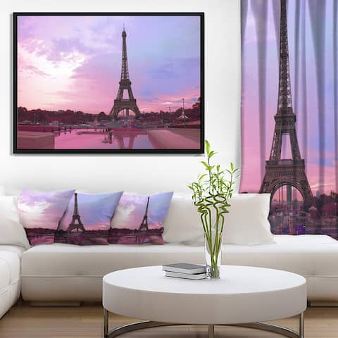 Designart 'Paris Eiffel Towerin Purple Tone' Landscape Photography Framed Canvas Print