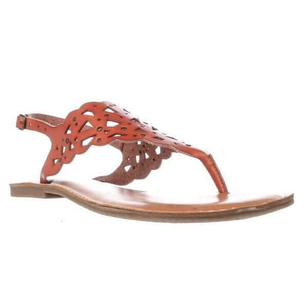Rock & Candy Breeana Studded T-Strap Flat Sandals, Tan