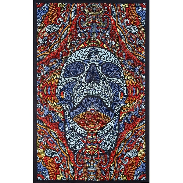 Handmade 100% Cotton 3D Mindful Skull Tapestry Tablecloth Beach Sheet 60x90