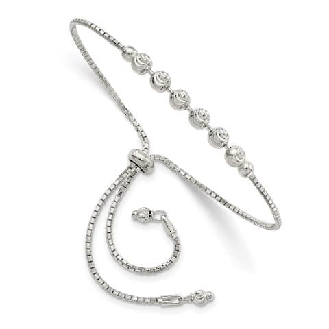 "925 Sterling Silver Diamond-cut Beaded Adjustable Bracelet, 10"""