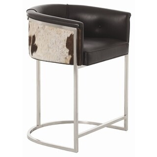 Arteriors 2763 Calvin 33 Inch Tall Iron Framed Leather Counter Stool - N/A