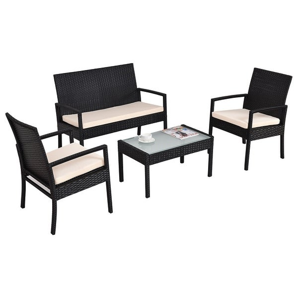 Costway 4 PCS Outdoor Patio Furniture Set Table Chair Sofa Cushioned Seat Gar