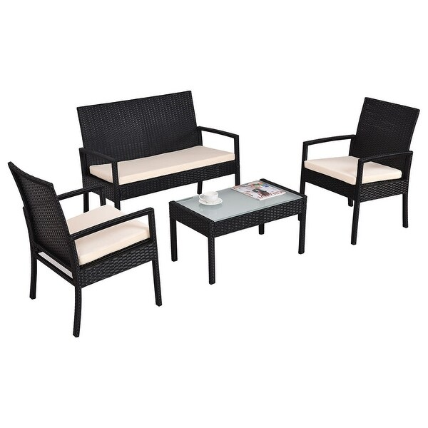 Costway 4 PCS Outdoor Patio Furniture Set Table Chair Sofa