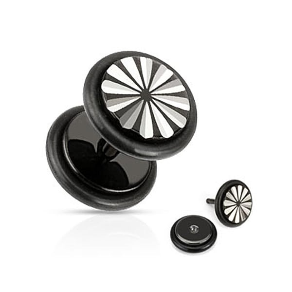Flower Grooved Cut Fake Plug with O-Rings 316L Surgical Steel Black IP (Sold Individually)