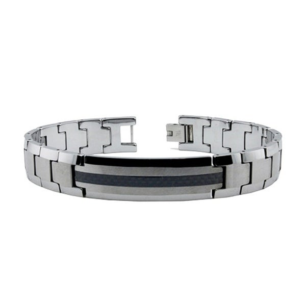 Tungsten Carbide ID Bracelet with Carbon Fiber Inlay