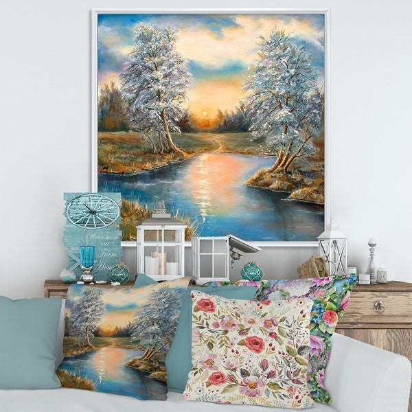 Designart 'Birches In The Autumn Woods' Lake House Framed Canvas Wall Art Print. Opens flyout.