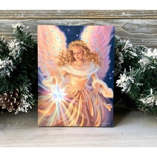 """8"""" Pink and Blue Angel Lighted Tabletop Canvas with Easel Back"""