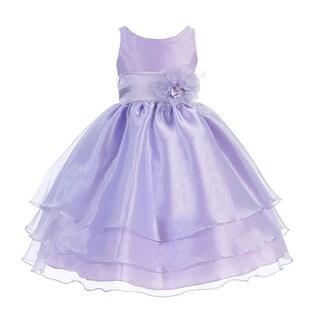 Little Girls Lilac Floral Sash Flower Girl Dress 2T-6