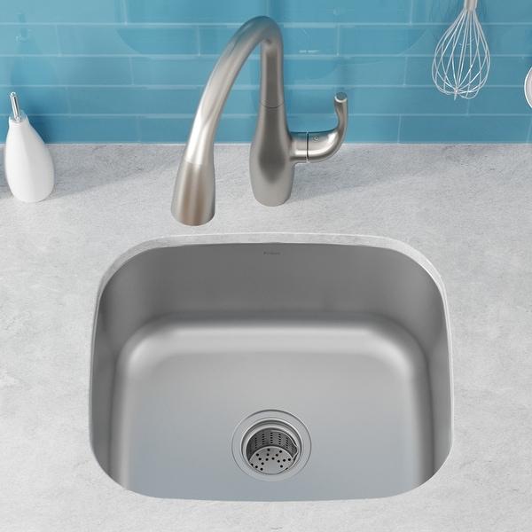 KRAUS Premier Stainless Steel 20 inch Undermount Kitchen Bar Sink. Opens flyout.