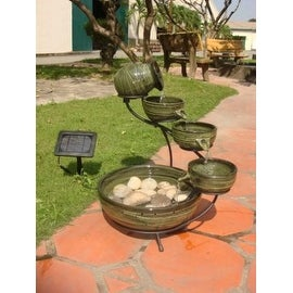 Smart Solar 23931R01 Ceramic Solar Cascading Fountain, Glazed Green Bamboo Desig