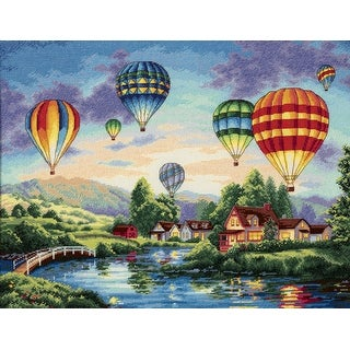 "Gold Collection Balloon Glow Counted Cross Stitch Kit-16""X12"" 18 Count"